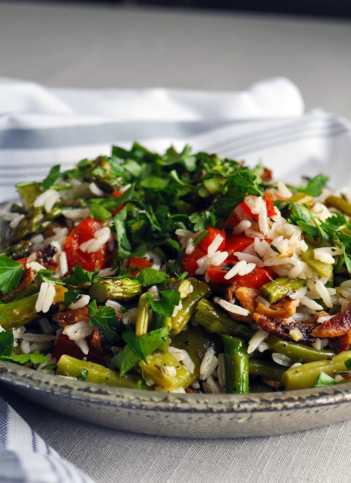 Easy vegetable rice pilaf with bacon.