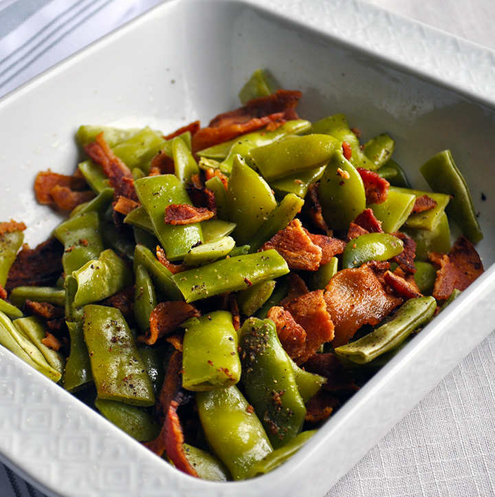 Microwave green beans with bacon