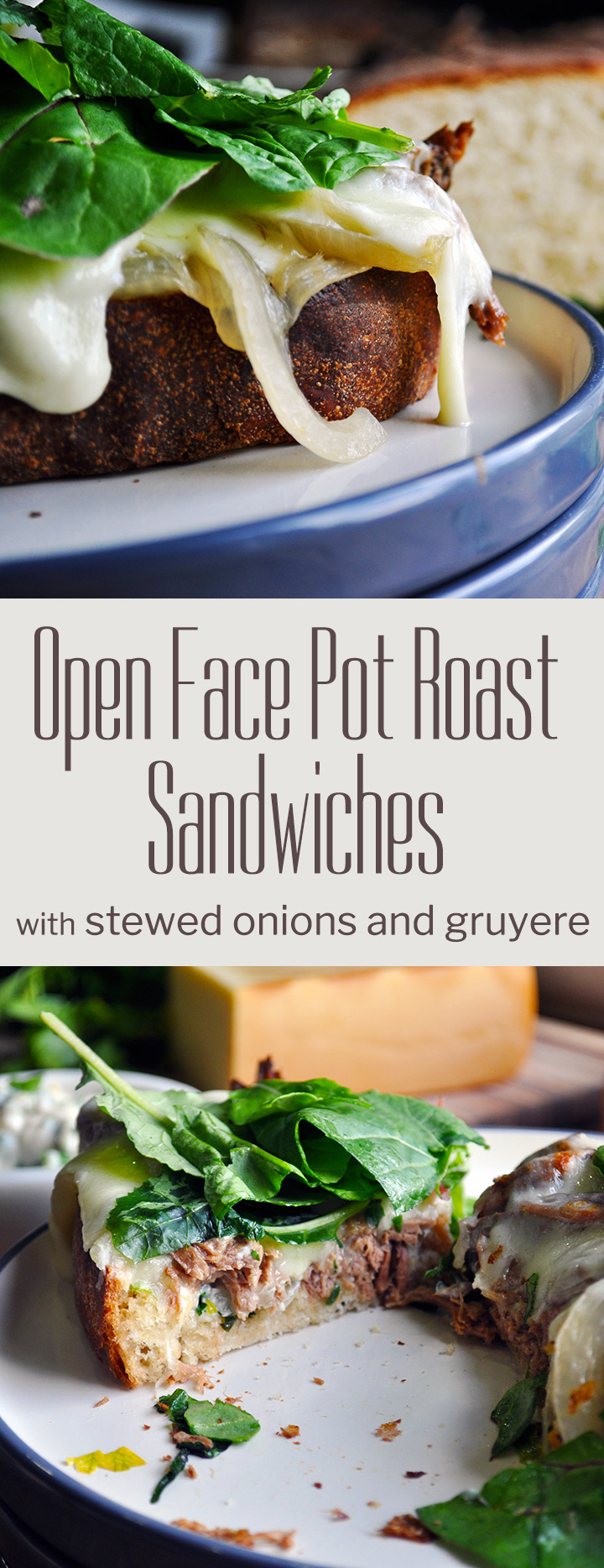 Open face pot roast sandwiches with stewed onions and gruyere | alittleandalot.com