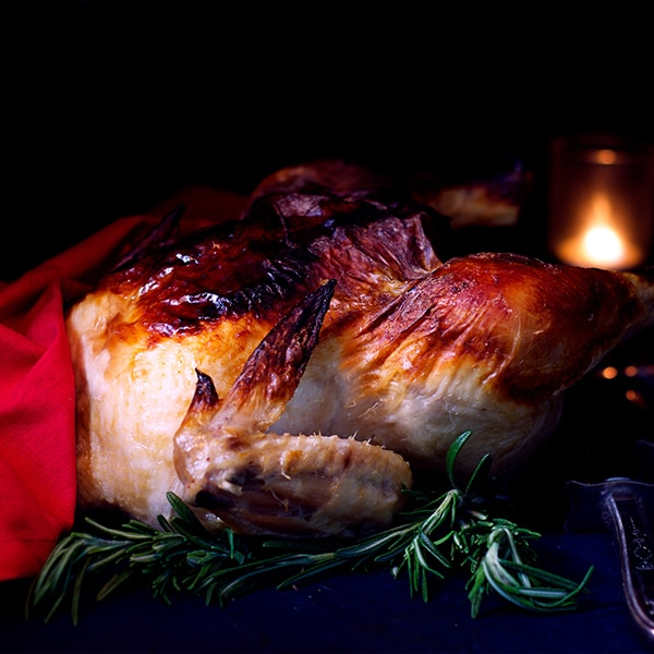 A whole buttermilk marinated roast chicken