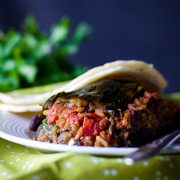 A stuffed poblano pepper with enchilada sauce and a homemade tortilla.