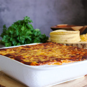 Cheese Enchilada Casserole with (or without) chicken.