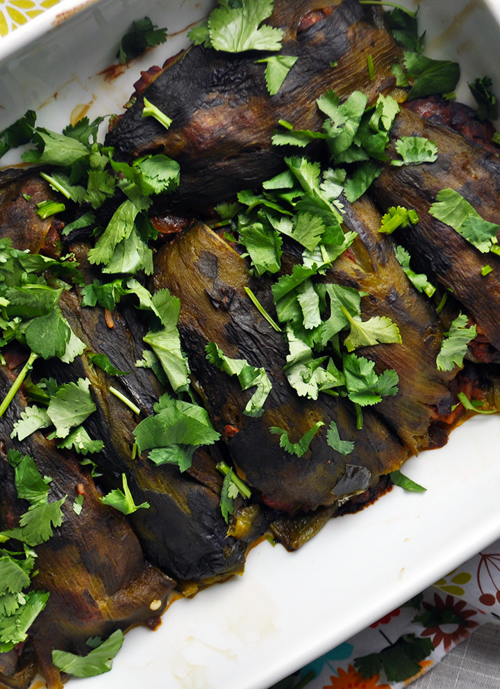 A pan of stuffed poblano peppers