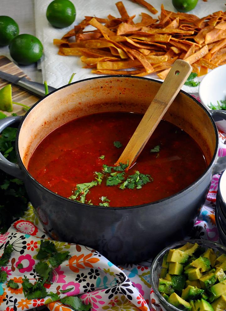 A pot of chicken tortilla soup