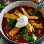 A bowl of chicken tortilla soup