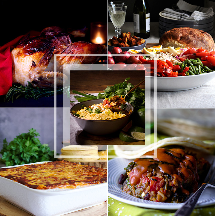 This 5 day meal plan includes roast chicken, chicken Nicoise salad, chicken tortilla soup, cheese enchilada casserole, and stuffed poblano peppers.
