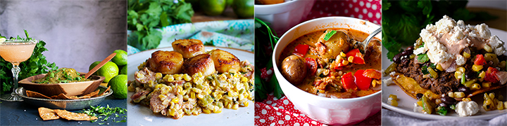 More delicious recipes: Roasted Tomatillo Sauce, Scallops with Chorizo, Poblano Peppers, and Roasted Corn Southwest Summer Corn Chowder, Black Bean Tostadas with Roasted Corn Salsa