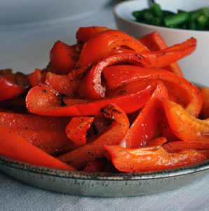 Sautéed red peppers and green beans