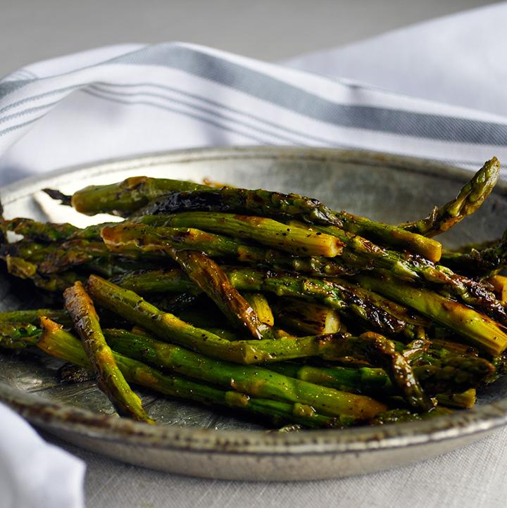 A plat of perfectly sautéed asparagus
