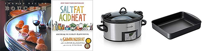 Resources for making perfect roast chicken: Bouchon Cookbook, Salt, Fat, Acid, Heat cookbook, Crock Pot Slow Cooker, Roasting Pan
