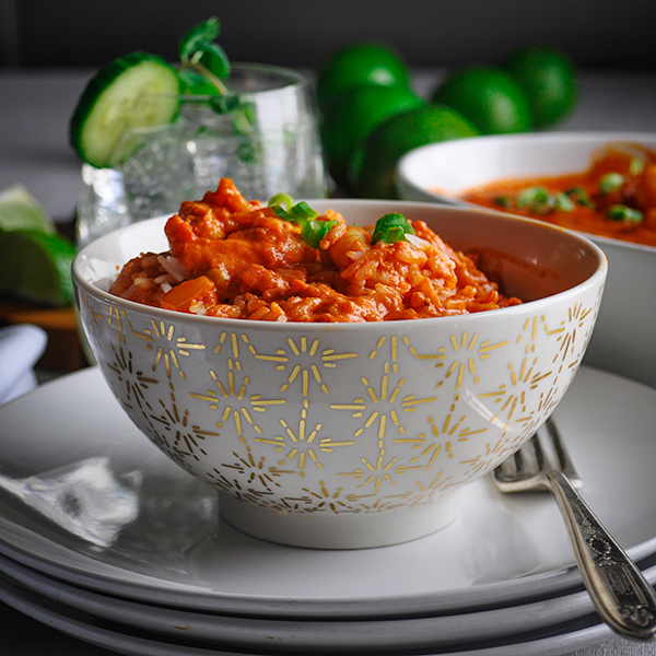 A bowl of Indian Shrimp and Rice.