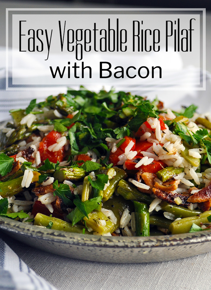 Easy vegetable rice pilaf with bacon. | ofbatteranddough.com