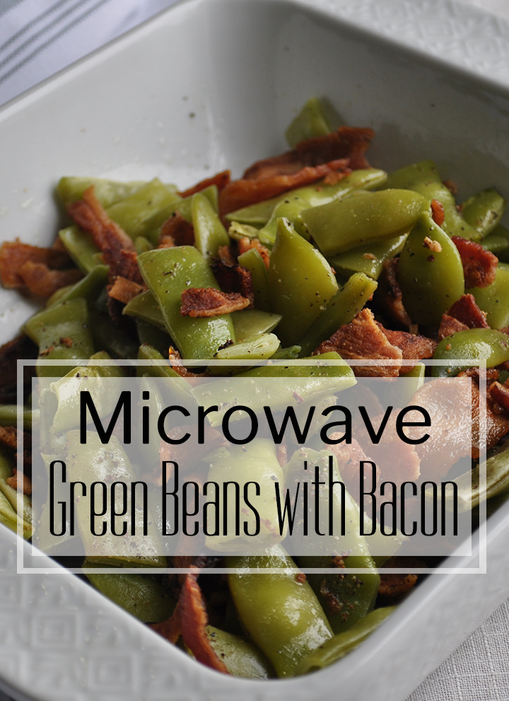 Microwave green beans with bacon | alittleandalot.com