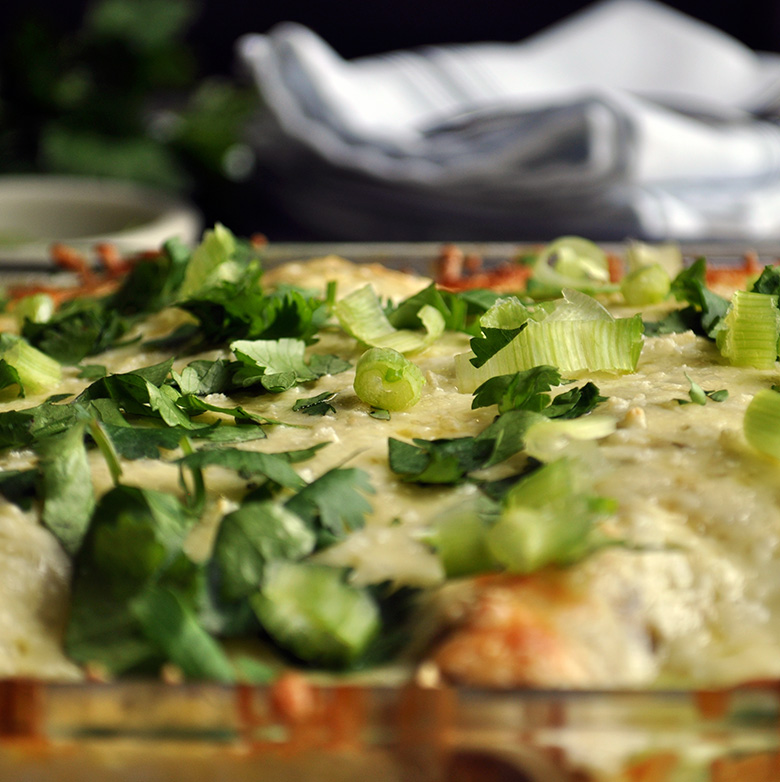Chicken enchiladas Verdes - green chili enchiladas.