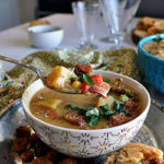 A spoonful of Potato Corn Chowder with Bacon and Roasted Poblano Peppers
