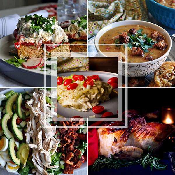 This weekly meal plan includes chicken sandwiches potato corn chowder, chicken enchiladas verdes, chicken chopped salad, and roast chicken.