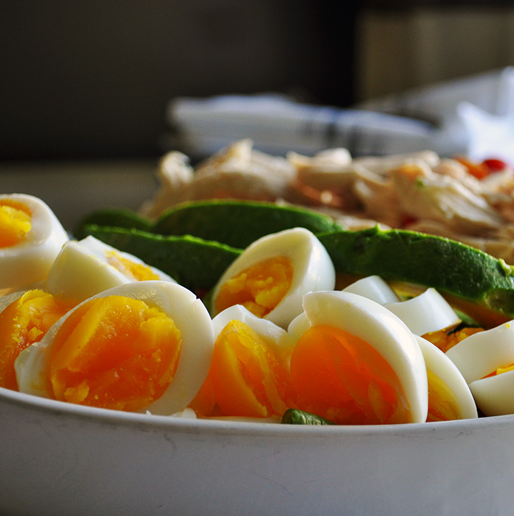 Chicken Chopped Salad with hard boiled eggs.