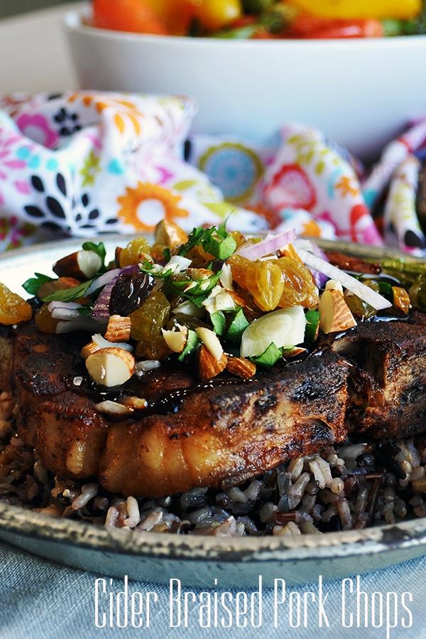 Cider braised pork chops with agrodolce.