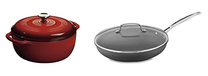 A cast iron enameled dutch oven and a non-stick large skillet.