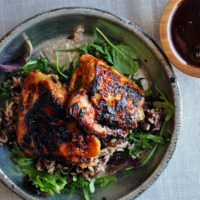 Pan Fried Chicken Thighs with Honey Chili Glaze