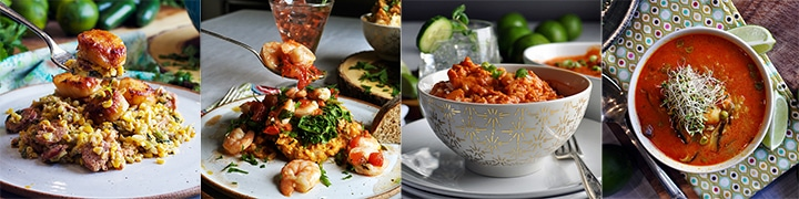 More seafood recipes: Scallops with Chorizo and Roasted Corn, Baked Garlic Shrimp with Roasted Tomato Risotto, Indian Shrimp and Rice, Shrimp, Rice, and Shiitake Mushroom Soup