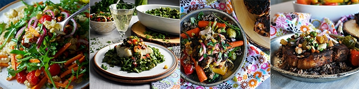 Recipes that use Agrodolce: Couscous Salad with Spring Vegetables and Agrodolce, Spinach Pasta with Baked Cod and Agrodolce, Chili Glazed Chicken Salad, Cider Braised Pork Chops