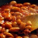 Beans cooked in a slow cooker