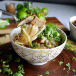 A bowl of Thai Pork and Noodle Soup