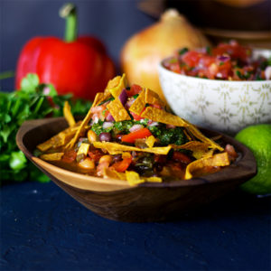 Vegetarian chili with pico de Gallo, chimichurri sauce, and fried tortilla strips.