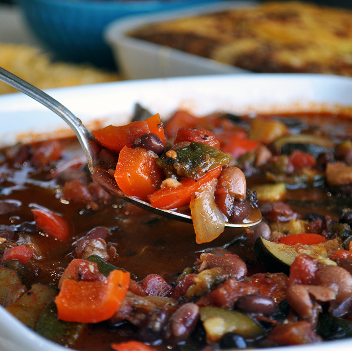 A spoonful of vegetarian chili.
