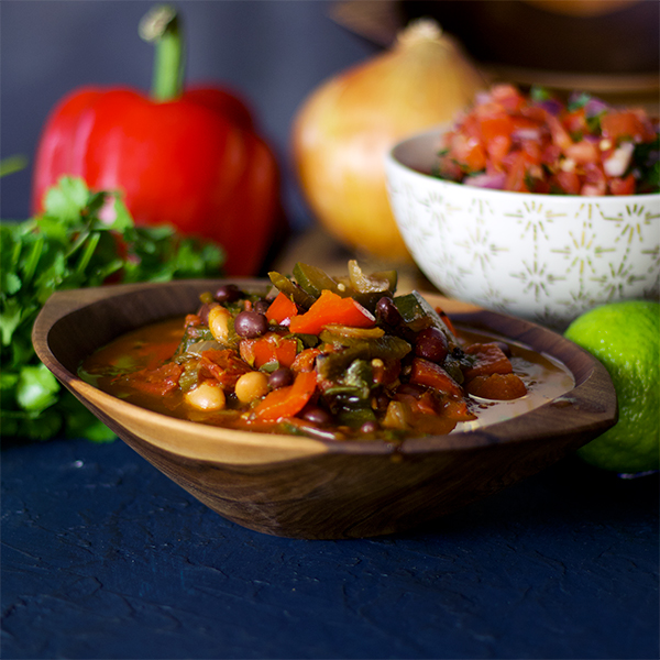 A bowl of vegetarian chili.