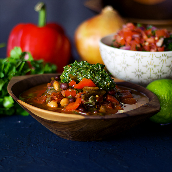 Vegetarian Chili with chimichurri sauce.