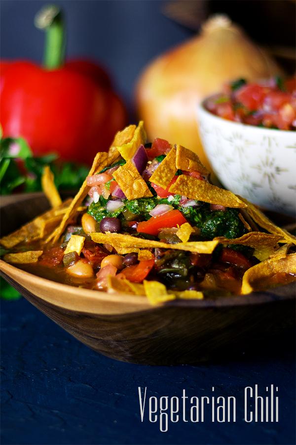Vegetarian Chili With Pico De Gallo Chimichurri A Little And A Lot