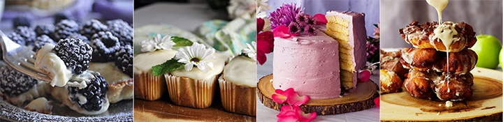 Recipes for the baker: Amaretto Custard Blackberry Tarts, Mini Lime Pound Cakes, Lemon Layer Cake with Blackberry Italian Meringue Buttercream, Overnight Apple Fritters