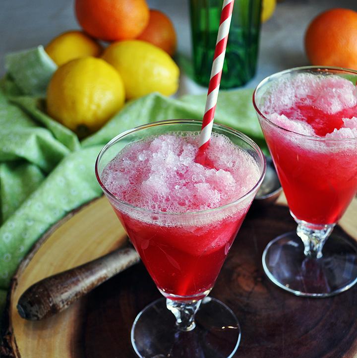 Hibiscus Tea Frozen Gin Fizz with Lemon Sorbet.
