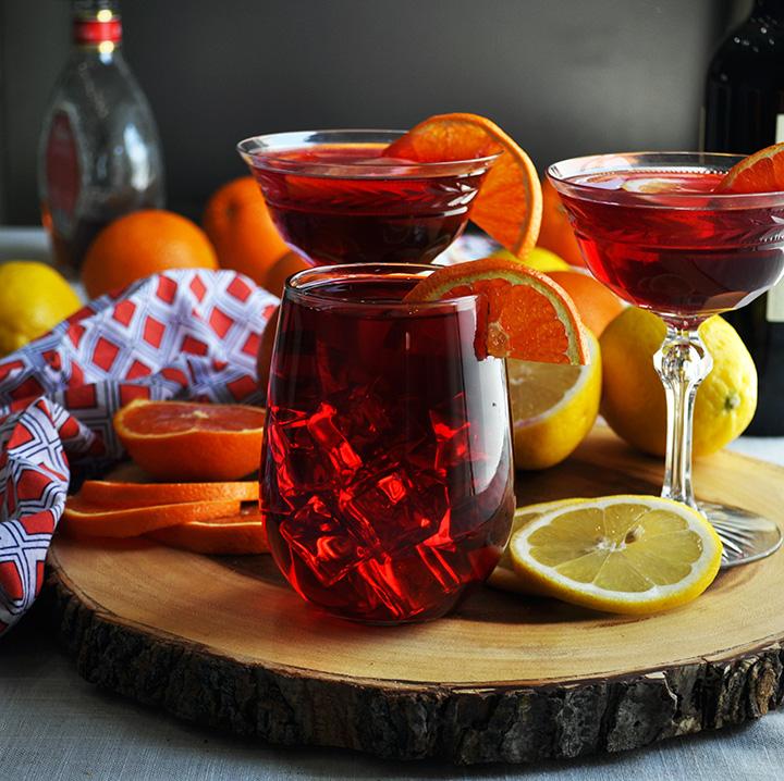 Glasses full of hibiscus tea sangria