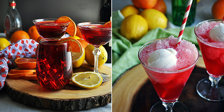 Hibiscus tea sangria and hibiscus tea gin fizz