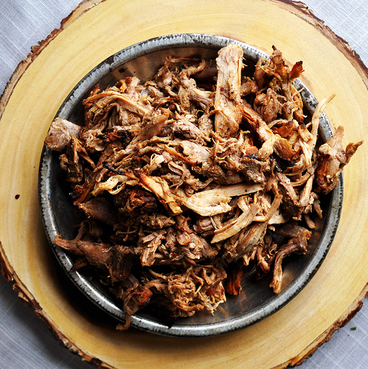A plate of pulled pork.