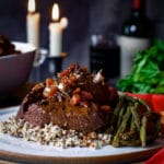 Rosemary Braised Steak Tips with Quinoa and sautéed asparagus and red bell peppers.