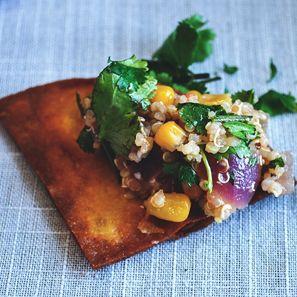Southwest Quinoa Salad on a tortilla chip