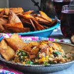 A plate of Southwest Quinoa Salad with Tortilla Chips