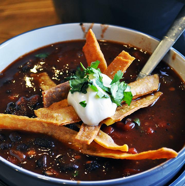 A bowl of Black Bean Tomato Soup