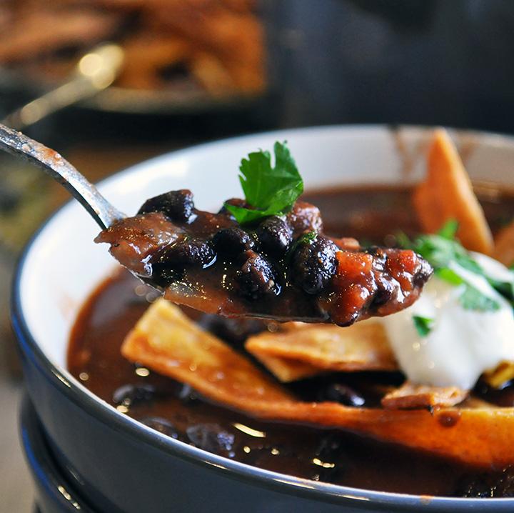 A spoonful of Black Bean Tomato Soup
