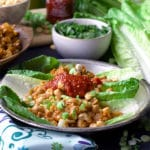 A plate of chicken lettuce wraps with peanuts and chili garlic sauce.
