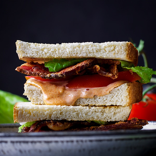A perfect BLT sandwich with special sauce.