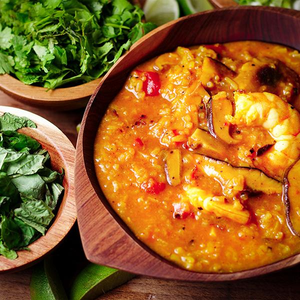 A bowl of Shrimp, Rice, and Shiitake Mushroom Soup