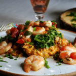 Baked garlic shrimp with roasted tomato risotto