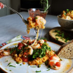 Baked garlic shrimp with roasted tomato risotto