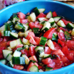 Cucumber tomato salad with mint.