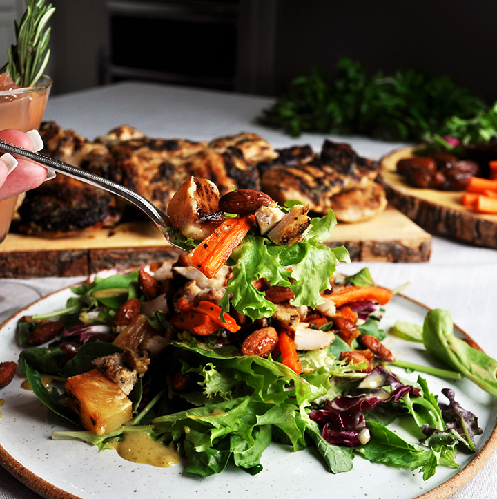 Lemon Rosemary Grilled Chicken Salad with Tahini Dressing